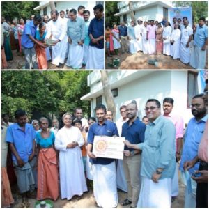Laying the foundation stone for a house for a flood victim in Mala